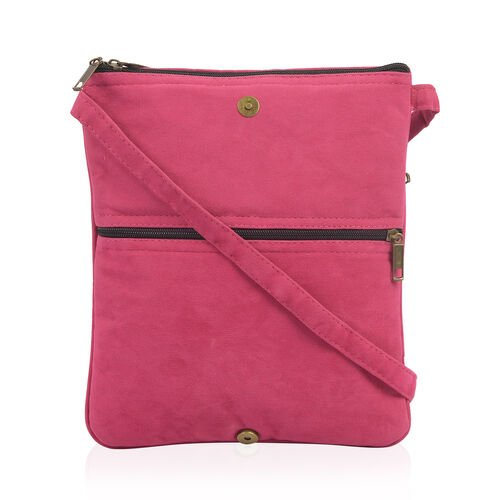 Hand Embroidered Fuschia and Multi Colour Floral and Leaves Pattern Sling Bag