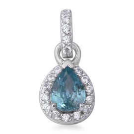 2.12 Ct Blue Zircon and Zircon Halo Pendant in Rhodium Plated Sterling Silver