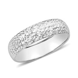 Diamond Cut Band Ring in 9K White Gold