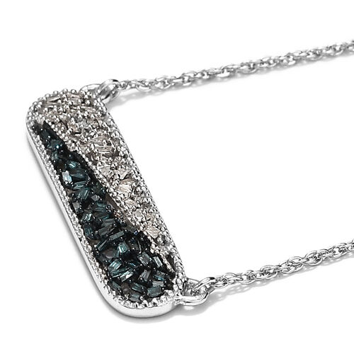 Diamond Platinum Overlay Sterling Silver Necklace (Size 18)  0.500  Ct.