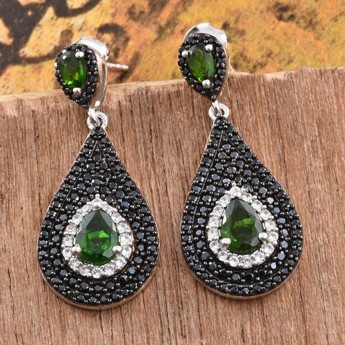 Designer Inspired Russian Diopside (Pear), Boi Ploi Black Spinel and Natural Cambodian Zircon Tear Drop Earrings (with Push Back) in Platinum Overlay Sterling Silver 4.500 Ct. Silver wt. 6.12 Gms.