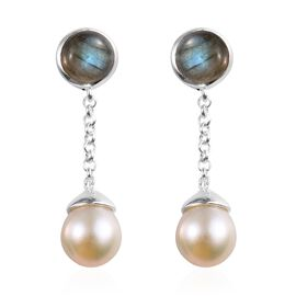 Labradorite (Rnd 3.35 Ct.), Freshwater Pearl Earrings (with Push Back) in Sterling Silver