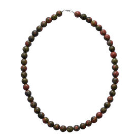 420 Ct Unakite Beaded Necklace With Lobster Clasp in Rhodium Plated Silver