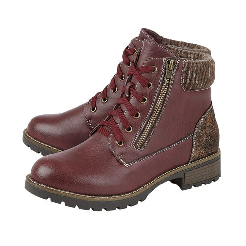 Lotus Emmeline Lace-Up Ankle Boots (Size 4) - Burgundy