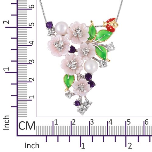 JARDIN COLLECTION - Freshwater White Pearl, Pink Mother of Pearl, Amethyst and Multi Colour Gemstone Floral Enameled Pendant with Chain in Rhodium and Gold Overlay Sterling Silver 8.00 Gms
