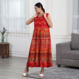 100% Cotton Mandala Print Dress - Red