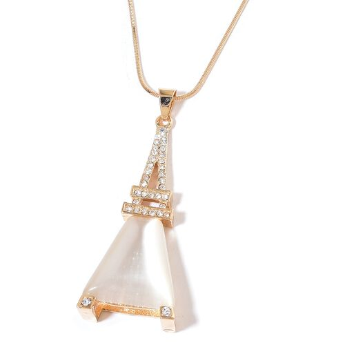 Simulated White Cats Eye and White Austrian Crystal Eiffel Tower Pendant With Chain in Yellow Gold Tone
