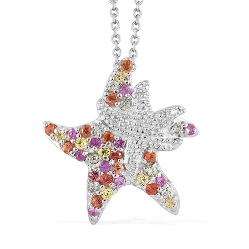 Rainbow Sapphire (Rnd) Star Fish Pendant With Chain (Size 18) in Platinum Overlay Sterling Silver 0.