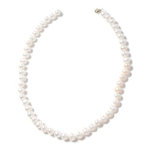 Limited Edition- Double Lustre AAA 9K Yellow Gold Fresh Water White Pearl Necklace (Size 20)