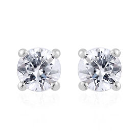 TLV Natural Cambodian Zircon (Rnd) Stud Earrings (with Push Back) Platinum Overlay Sterling Silver 1