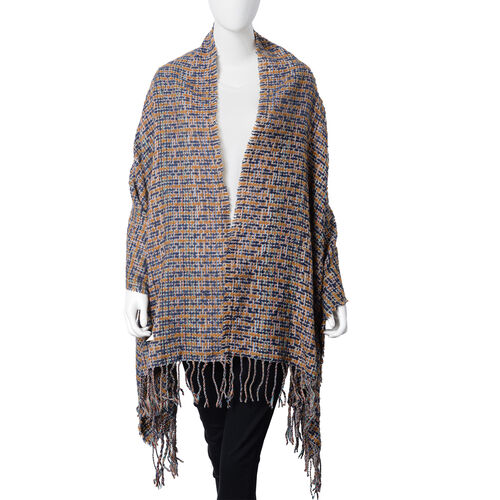 Stylish Tweed Look Full Tassels Large Scarf  (Size 180x68 Cm) Yellow Major Colour