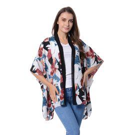 Designer Inspired- White and Blue Colour Flower Pattern Kimono (Size 95x70 Cm)