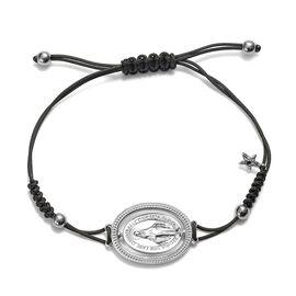 GP - Blue Sapphire Adjustable Madonna Bolo Bracelet (Size 6.5-9.5) in Platinum Overlay Sterling Silv