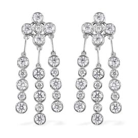 J Francis - Platinum Overlay Sterling Silver Chandelier Earrings Made with SWAROVSKI ZIRCONIA 11.68