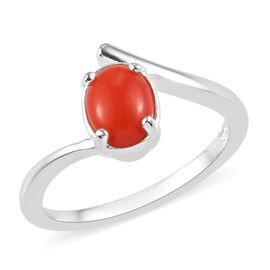 Natural Coral Ring  in Sterling Silver