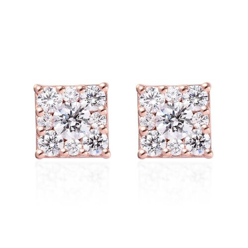 J Francis Rose Gold Overlay Sterling Silver Stud Earrings (with Push Back) Made with SWAROVSKI ZIRCO