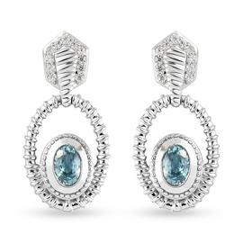 Ratanakiri Blue Zircon and Natural Cambodian Zircon Dangle Earrings (with Push Back) in Platinum Ove