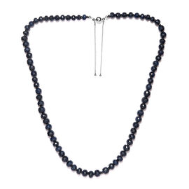 Artisan Crafted Sapphire and Masoala Sapphire Adjustable Beads Necklace (Size 24-30) in Rhodium Over