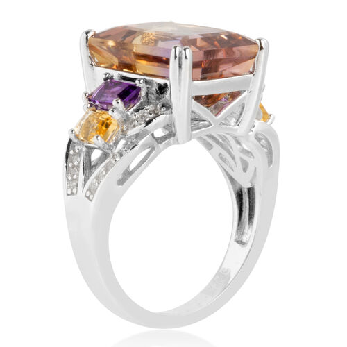 Natural Anahi Ametrine (Oct) Amethyst, Citrine and Natural White Cambodian Zircon Ring in Sterling Silver 8.400  Ct.