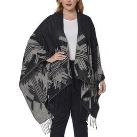 Snowflake Pattern Kimono (Size 135x75+13cm) - Black and Grey