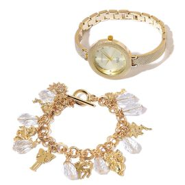Set of 2- STRADA Japanese Movement Water Resistant Gold Plated  Studded White Austrian Crystal Watch with Simulated Diamond Multi Charm Bracelet (Size 7.5 with 1 inch Extender).