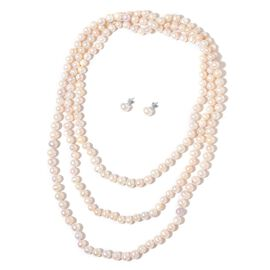 Hand Knotted Fresh Water Double Shine Pearl Necklace (Size 64) and Fresh Water Pearl Stud Earrings (with Push Back) in Rhodium Plated Sterling Silver