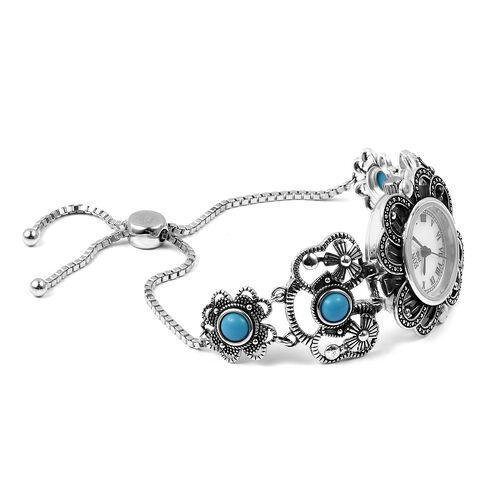 EON 1962 Swiss Movement Arizona Sleeping Beauty Turquoise (18 Ct) 3ATM Water Resistant Adjustable Bracelet Watch (Size 6-8.5) in Sterling Silver 20.90 Gms.