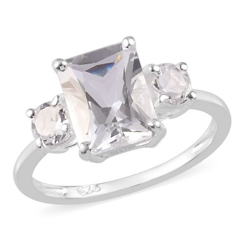 2.15 Ct Petalite Trilogy Ring in Sterling Silver