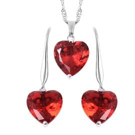 2 Piece Set - Simulated Ruby (Hrt) Hook Earrings and Pendant with Chain (Size 18 with 2 inch Extende