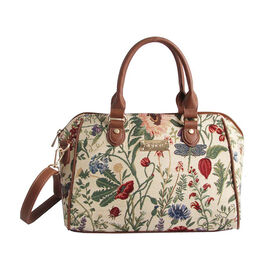 Signare - NEW Bowler Bag in Morning Garden Design. (30x14x23 cms) - Beige and Multicolour LIMITED ST