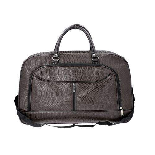 Snake Skin Pattern Duffle Bag with Detachable Shoulder Strap (Size 55x20x34 Cm) - Coffee