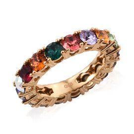 J Francis Crystal from Swarovski Multi Crystal (Rnd) Full Eternity Band Ring in 18K Yellow Gold Plat