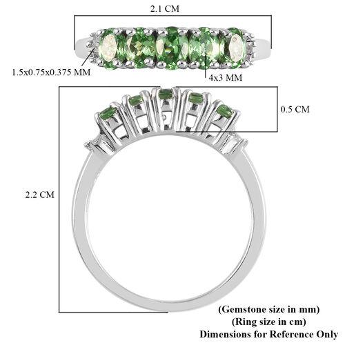 Tsavorite Garnet and Diamond Ring in Platinum Overlay Sterling Silver 1.00 Ct.