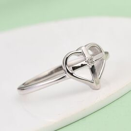 Diamond Cross Heart Ring in Platinum Overlay Sterling Silver