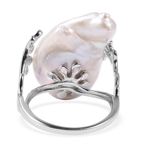Baroque Pearl and Natural White Cambodian Zircon Ring in Rhodium Overlay Sterling Silver