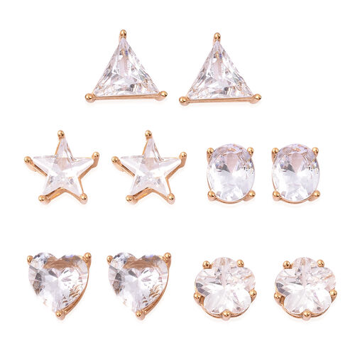 5 Piece Set - Simulated Diamond Stud Earrings in Yellow Gold Tone
