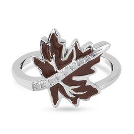 Diamond Maple Leaf Enamelled Ring in Platinum Overlay Sterling Silver