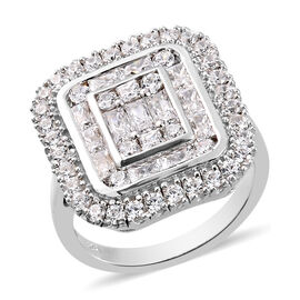 J Francis Platinum Overlay Sterling Silver Cluster Ring Made with SWAROVSKI ZIRCONIA 3.83 Ct.