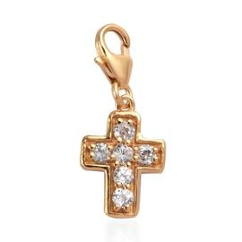 Natural Cambodian Zircon Cross Charm in 14K Gold Overlay Sterling Silver