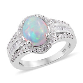 Ethiopian Welo Opal (Ovl), Natural Cambodian Zircon Ring in Platinum Overlay Sterling Silver 2.400 C