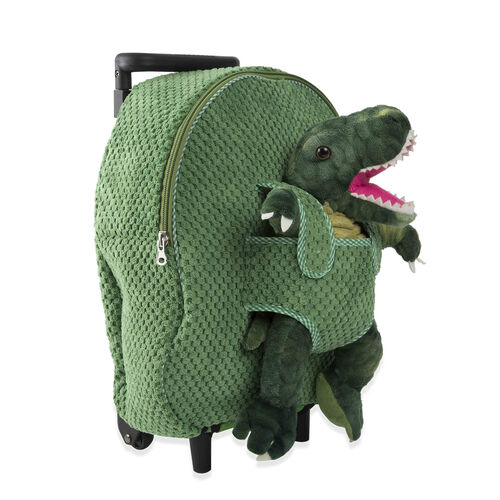 BRAND NEW: Plush Convertable Dinosaur Backpack with Trolley and Detachable Cuddly Toy (12 Inches) - Dinosaur