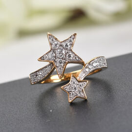 Sunday Child Natural Cambodian Zircon Bypass Ring in 14K Gold Overlay Sterling Silver