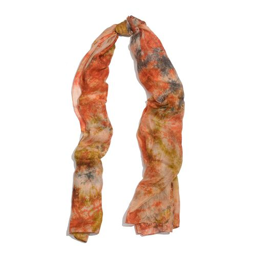 100% Mulberry Silk Orange and Multi Colour Abstract Pattern Scarf (Size 180x100 Cm)