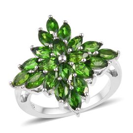 3.75 Ct Russian Diopside Floral Cluster Ring in Platinum Plated Sterling Silver