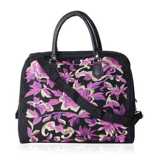 ShangHai Collection Purple Colour Flower Embroidered Large Weekend Bag with Adjustable and Removable Shoulder Strap (Size 42x35x20 Cm)