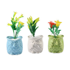 Home Decor - Set of 3 - Artificial Mini Plants in Ceramic Owl Pots (Size 6x4.5 Cm) - Blue, White and