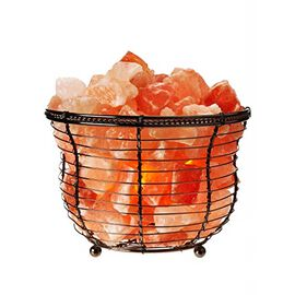 Himalayan Salt Chunks Lamp with wide Metal Basket (Size 14x9 Cm) - Pink 5 Kg (11 Lbs)