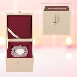The 5th season Rose Quartz Candle with Wooden Gift Box in Pink (Fragrance : Shine-Muscat)