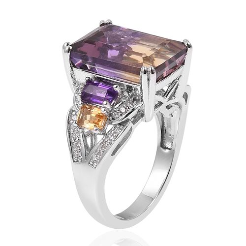 Anahi Ametrine (Oct), Amethyst, Citrine and Natural White Cambodian Zircon Ring in Rhodium Overlay Sterling Silver 8.400 Ct, Silver wt 5.15 Gms.