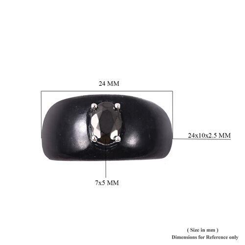 Black Jade and Elite Shungite Ring in Rhodium Overlay Sterling Silver 23.425 Ct.